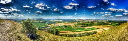 archaeologically: Panoramic view of the Ipf, Celtic castle of the ancient Hallstein period Stock Photo