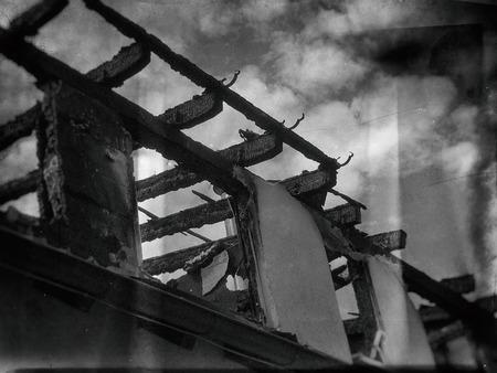 quemadura: casa de quemadura en el estilo vintage
