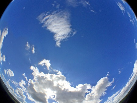 fish eye: sky with clouds in fish eye view