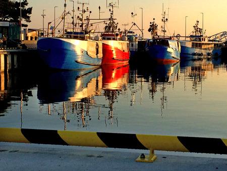 fishing fleet: trawlers in a port in soft evening light