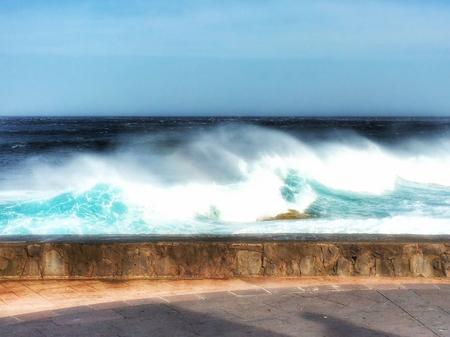 Surf on the volcano coast of Tenerife