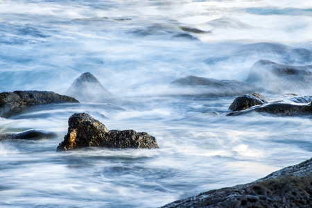 surf of the atalantic ocean in long time exposure Stock Photo