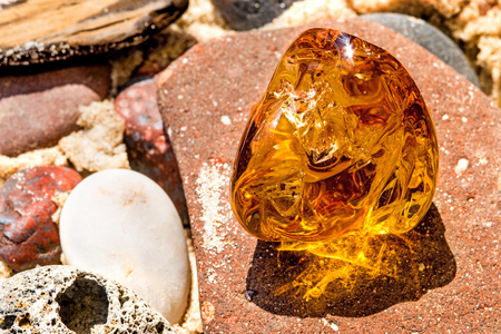 Amber on a beach of the Baltic Sea Imagens