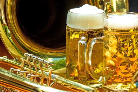 beer mugs with trumpet Stock Photo