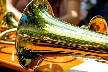 trumpet on a beer desk