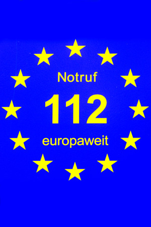 112, European emergency number of fire department and ambulance Stock Photo