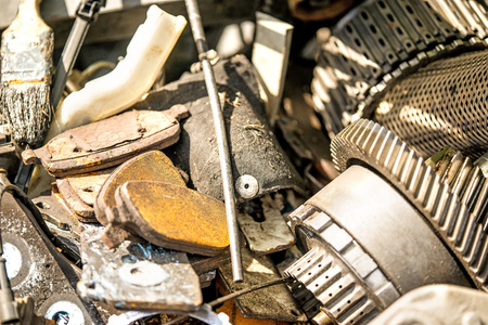 scrap yard with car parts