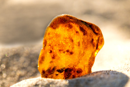 smooth: Amber on a beach of the Baltic Sea Stock Photo