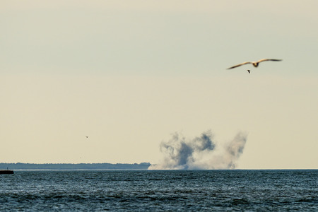 artillery exercise on the Baltic sea