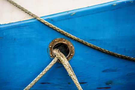 bulwark with mooring lines of a trawler Stock Photo