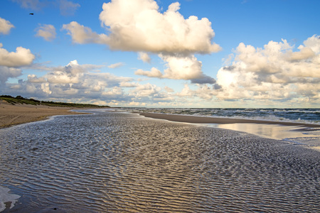 lonesome beach of the Baltic Sea with blue sky and clouds Standard-Bild - 117000984