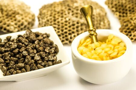 Propolis and bee wax, closeup of the bee products