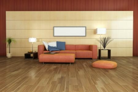 interior furniture: modern living room 3d render Stock Photo
