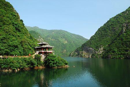 pavilion: chinese style pavilion beside lake
