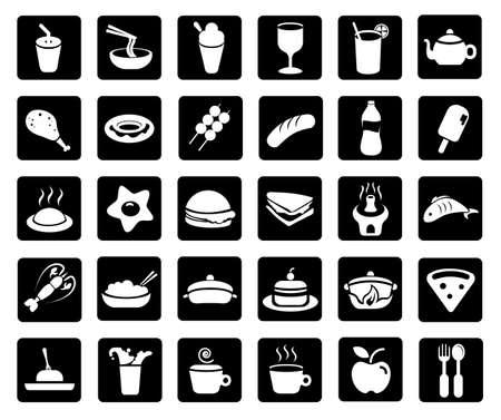 wijn en spijzen: voedingsmiddelen of dranken Stock Illustratie