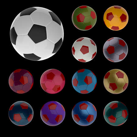 colored footballs  Stock Photo
