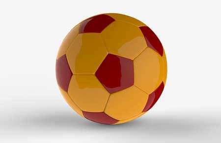 Yellow football  3D on white background Stock Photo