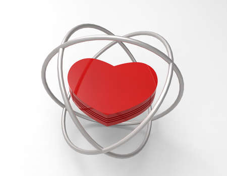 Red heart in cage