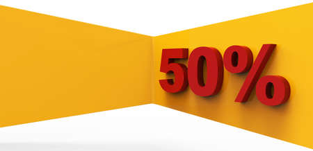 Red fifty percent 3D Stock Photo - 17078148