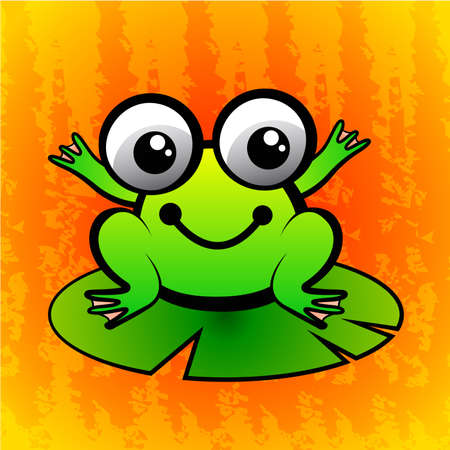 cute green frog  Vector