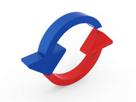 Refresh arrows 3D blue and red Stock Photo - 17469108
