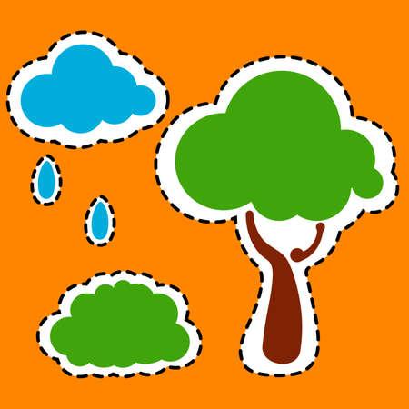tree stickers  vector