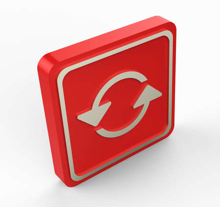 red refresh button 3D Stock Photo - 17747503