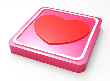 Love glossy pink square button