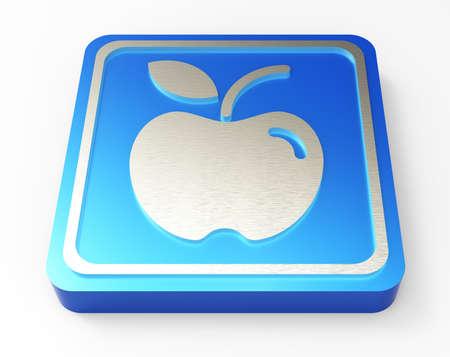 apple blue button 3D