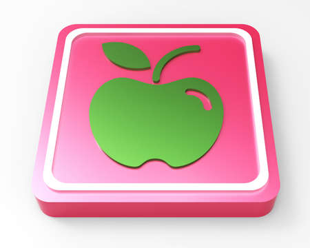 green apple pink button 3D  Stock Photo - 18101520