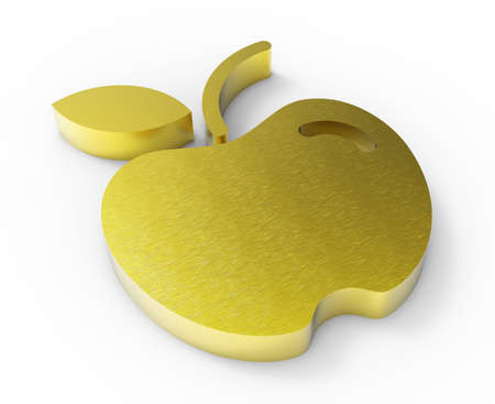 gold apple design 3D  Stock Photo