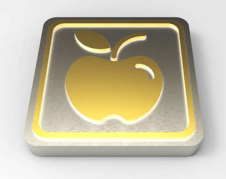 apple gold button 3D  Stock Photo