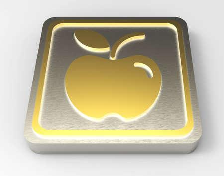 apple gold button 3D Stock Photo - 18101522
