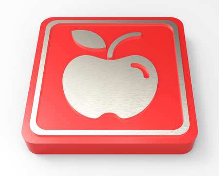 apple red button 3D  Stock Photo - 18101526