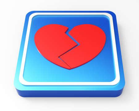 Broken Heart button 3D Stock Photo - 18101524