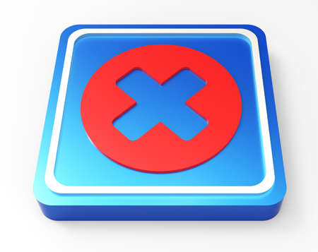 cancel red and blue 3D button