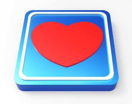 heart blue square glossy web button