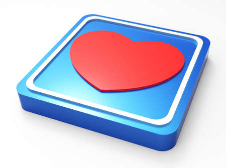 Love glossy blue square button  Stock Photo - 18101573