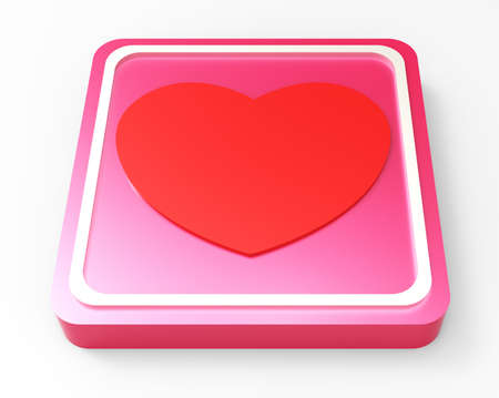 heart pink square glossy web button Stock Photo