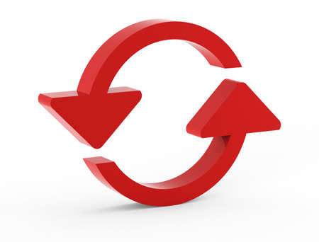 reload red circle web icon on white background