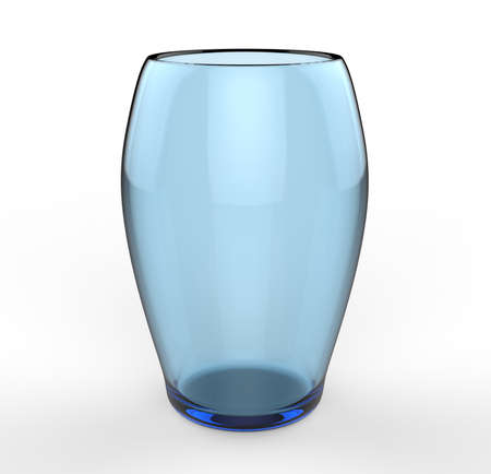 blue glass on white background 3D Stock Photo