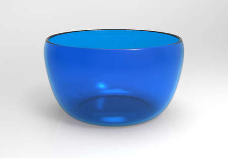 An empty blue glass bowl on white background Stock Photo
