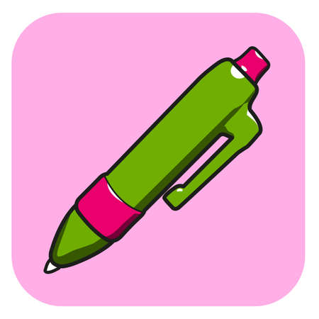 pen icon vector on pink button