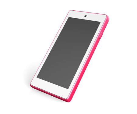 pink smartphone on  white background 3D
