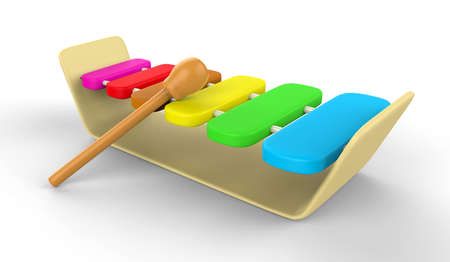 colorful child s xylophone 3D on white background