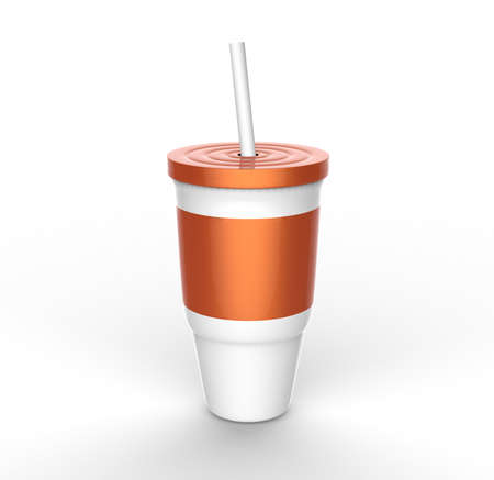 orange plastic glass with straw 3D