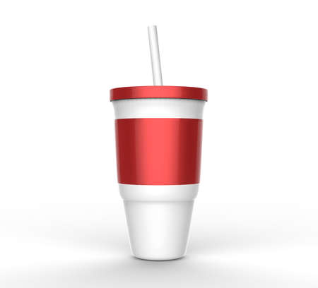 red plastic glass with straw 3D Stock Photo
