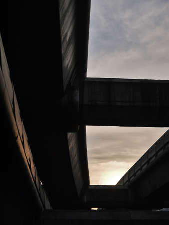 viaduct: Last light of the day under sky train