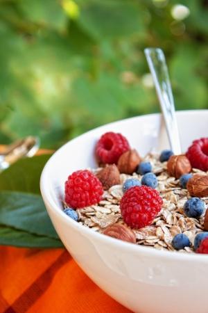 comiendo cereal: Nueces de avena con frambuesas y ar�ndanos frescos y avellanas