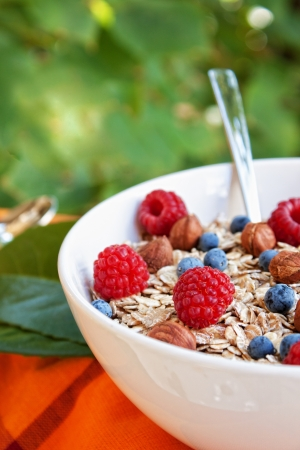 cereal bowl: Oat nuts with fresh blueberries and raspberries and hazelnuts